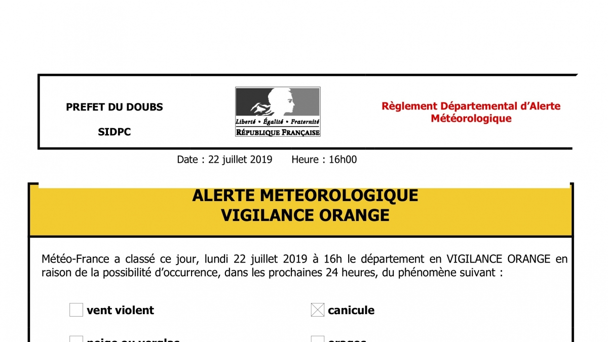 CANICULE - VIGILANCE ORANGE